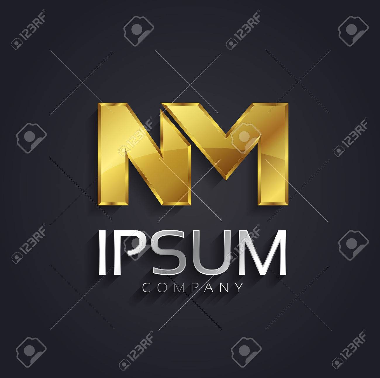 Vector Graphic Nm Letter Symbol In Gold And Silver With Sample