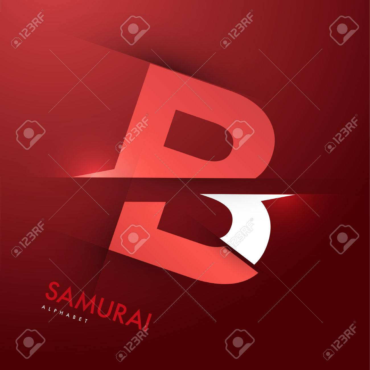 vector graphic samurai themed cutted alphabet letter b royalty