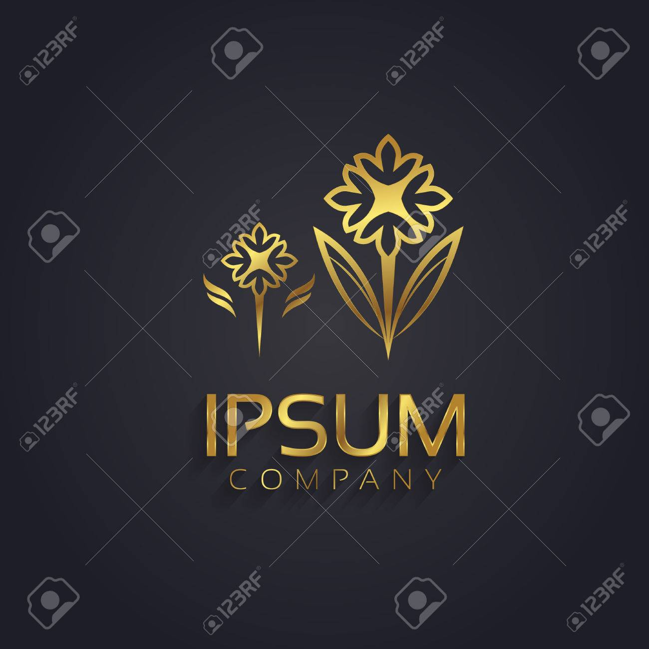 Decorative Vector Graphic Gold Flower Symbol With Sample Text