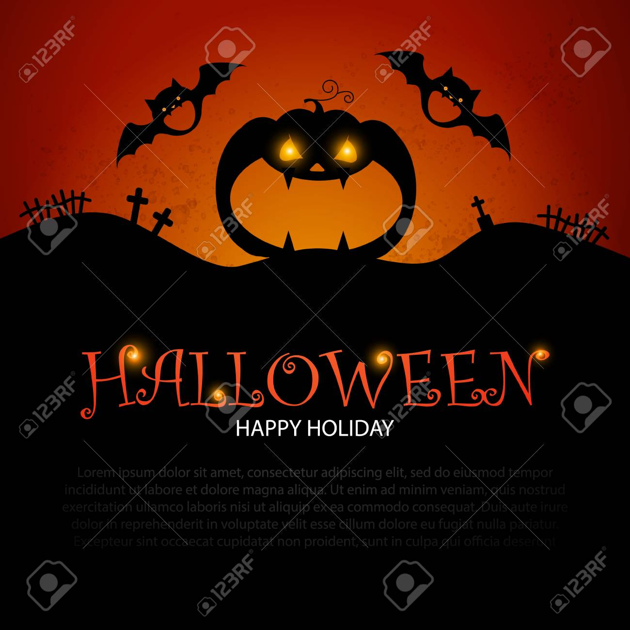 Halloween Party Design Template With Pumpkin Bats And Place