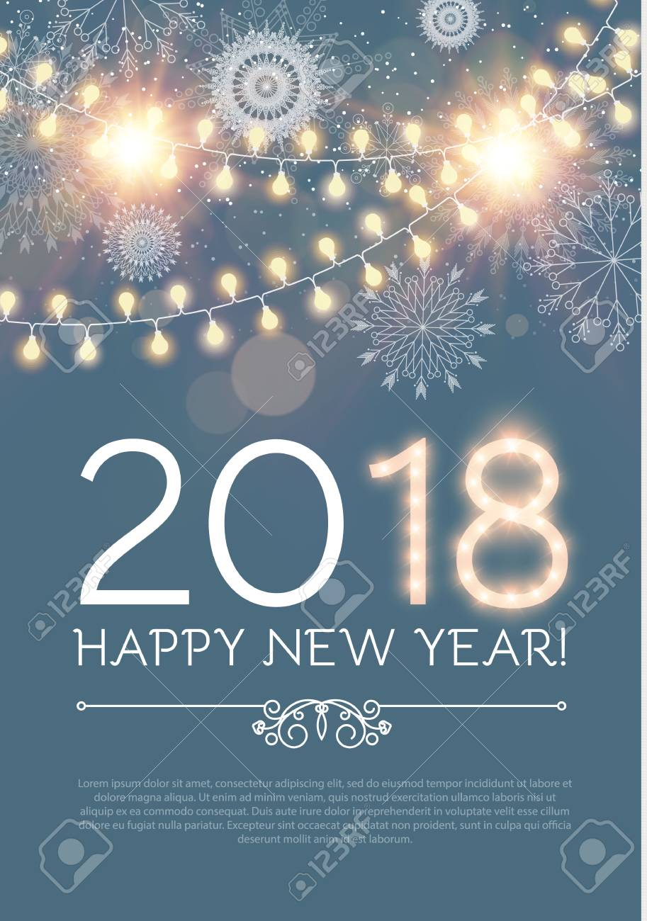 happy new year poster and flyer template lights snowflakes