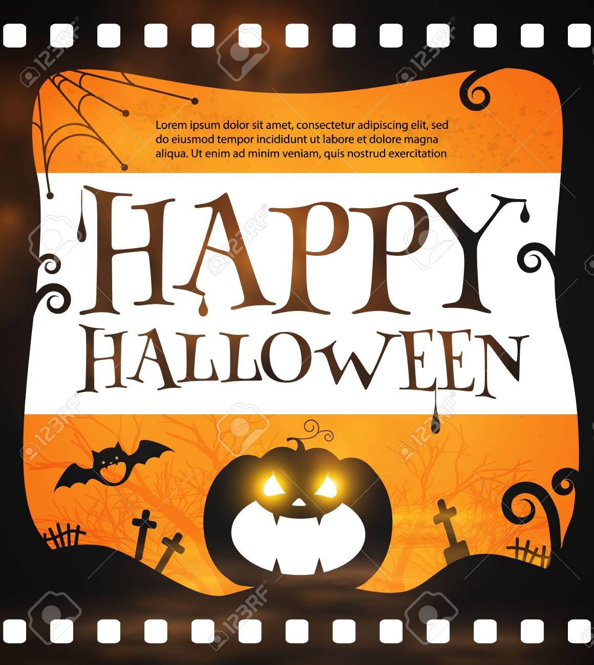 Happy Halloween Poster Template Spooky Party Flyer With Pumpkin And Bats Vector Illustration Stock