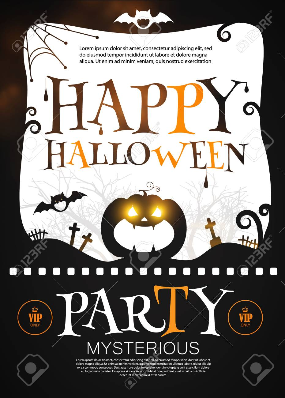 happy halloween poster template spooky party flyer with pumpkin
