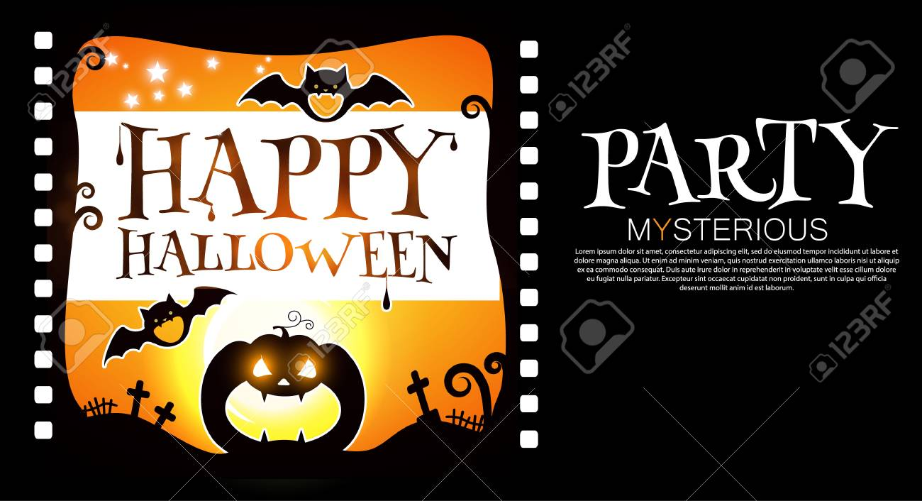 Happy Halloween Flyer Template Spooky Party Invitation With