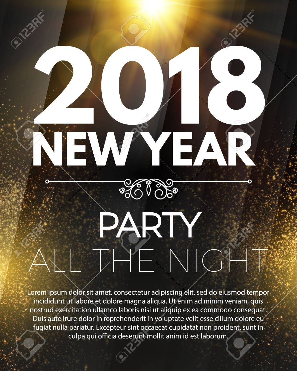 happy new 2018 year party poster template with light effects and place for text vector