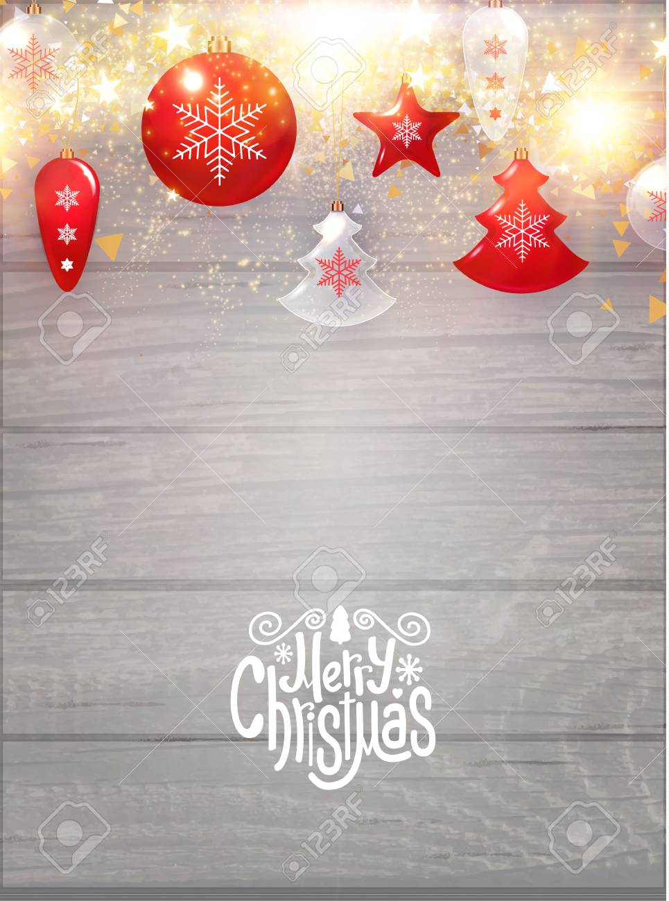 Merry Christmas Background.Merry Christmas Background With Red And Transparent Glass Toys