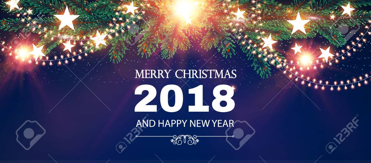 merry christmas shining background elegant new year decoration with fir tree branches stars