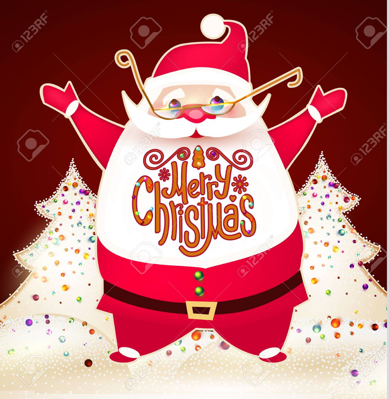 smiling santa claus christmas card template with snow and lettering of merry christmas stock vector
