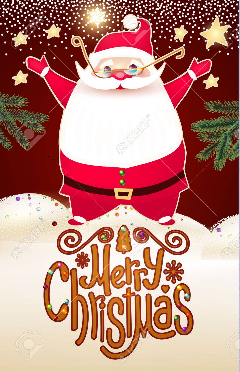 Smiling Santa Claus. Christmas Card Template With Snow And Lettering ...