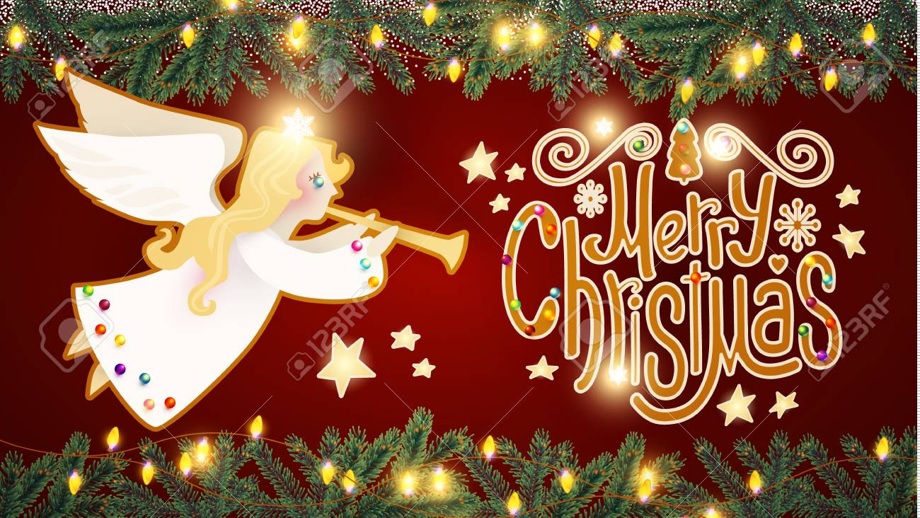 Merry Christmas Cute Background With Angel Playing The Trumpet Candy Lettering Snow And