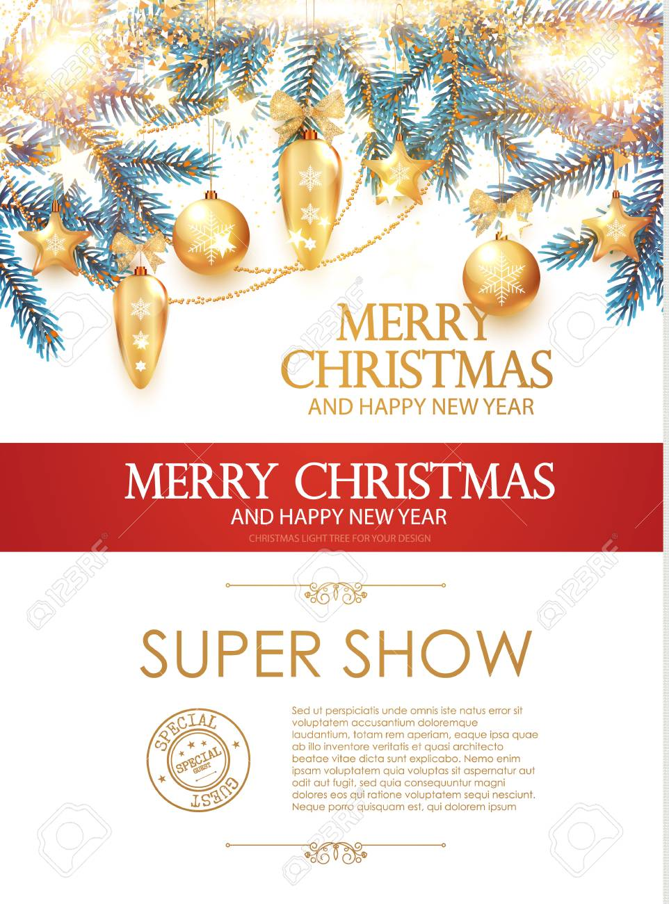 Elegant Christmas Decoration. Realistic Holiday Golden Toys With ...