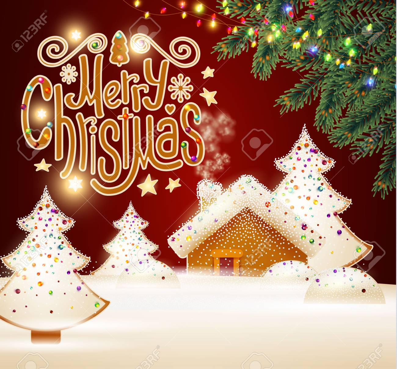 Christmas Backgrounds Cute.Merry Christmas Cute Background With Gingerbread House Christmas