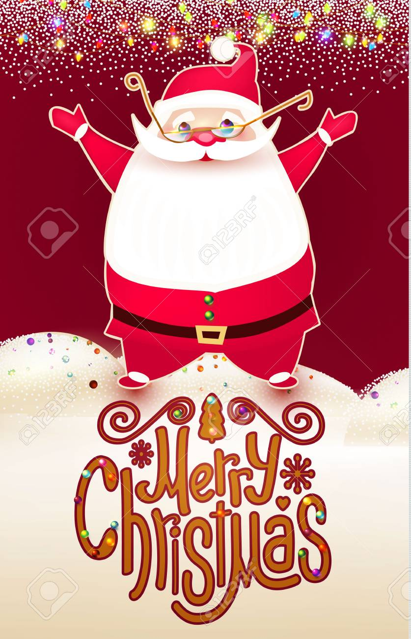 Smiling Santa Claus Christmas Card Template With Snow And Lettering ...
