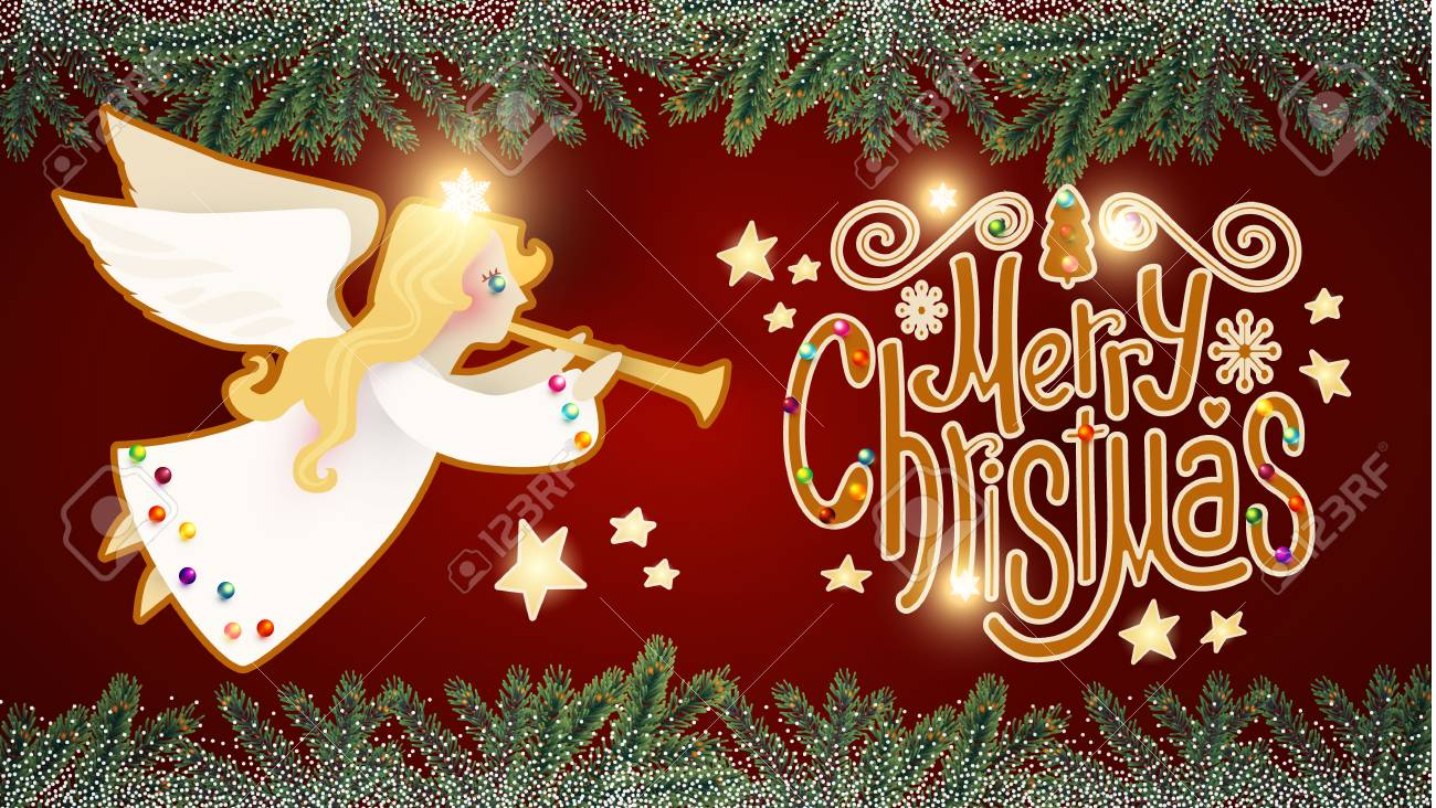 Christmas Trumpet Images.Merry Christmas Cute Background With Angel Playing The Trumpet