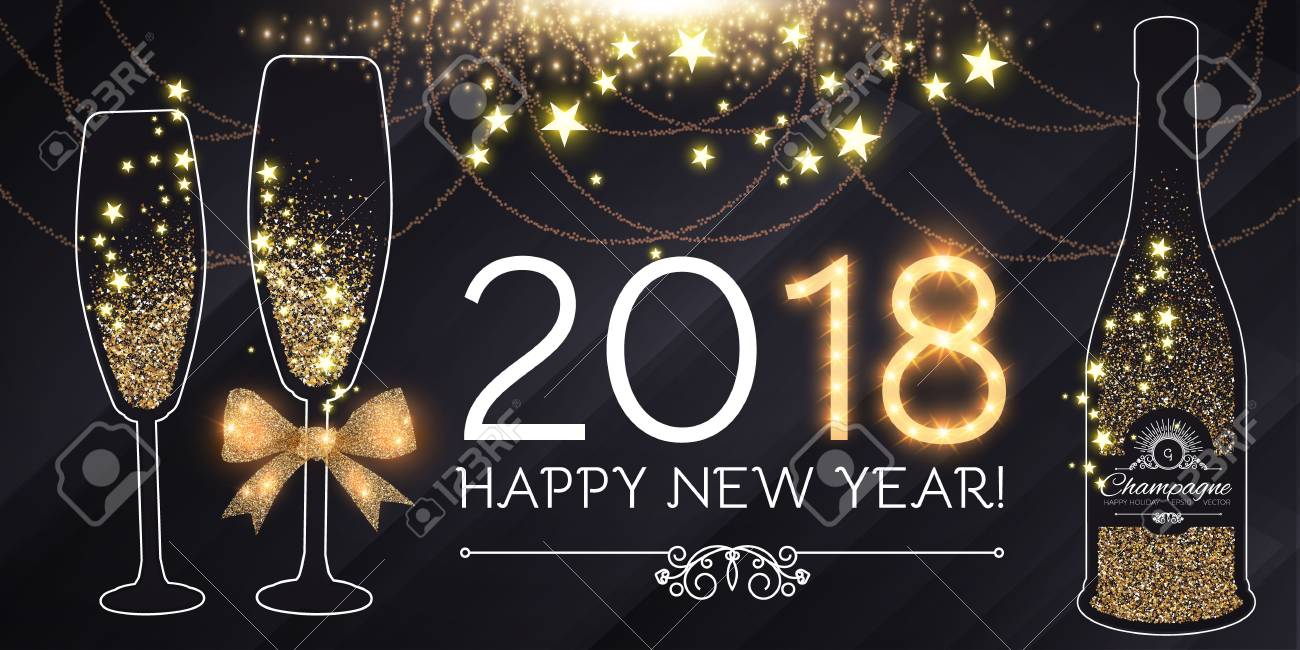 happy new 2018 year and christmas design template with champagne glasses bottle of wine