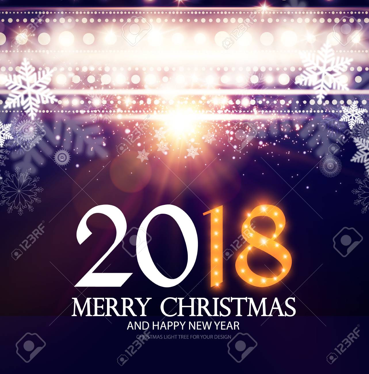 happy new 2018 year poster and flyer template lights snowflakes
