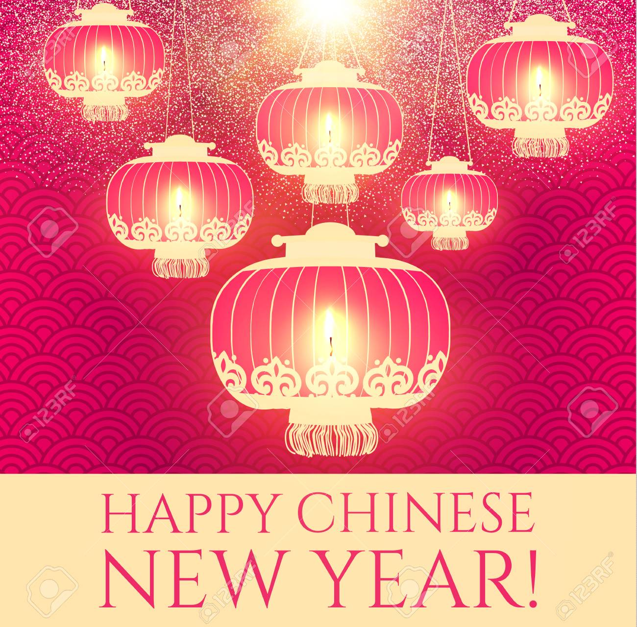 happy chinese 2018 new year background with lanterns and lights