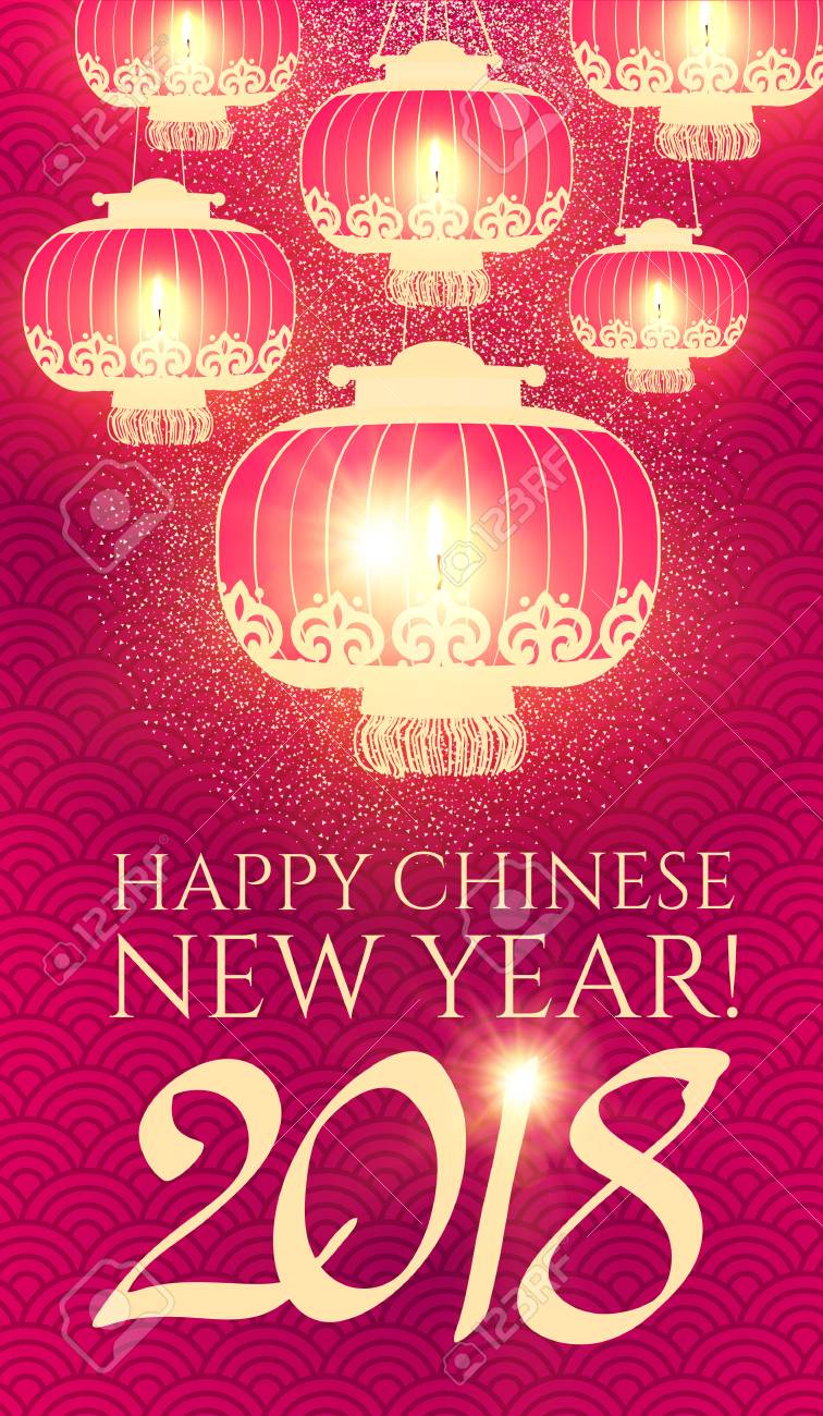 happy chinese 2018 new year background with lanterns and lights stock vector 93287714