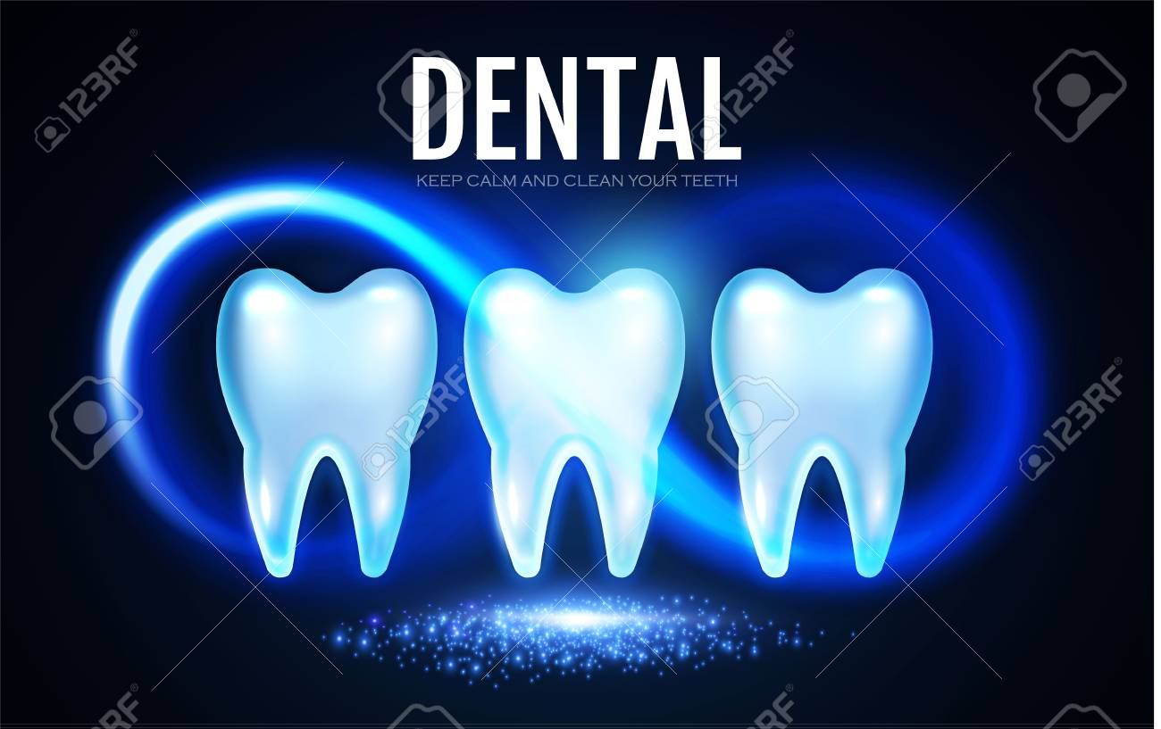 Shining Tooth With Lights Stomatology Design Template Dental