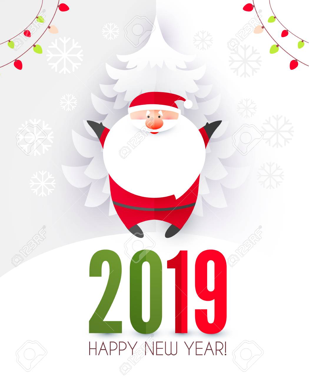 Christmas Graphics 2019.Happy Ner 2019 Year Christmas Design Template With Santa Claus