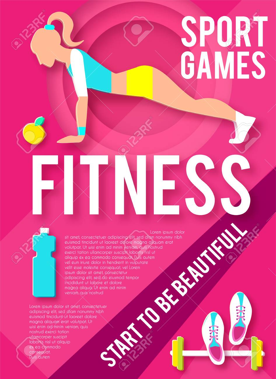 Woman Fitness Poster Template  Sport Motivation  Paper 3D Art