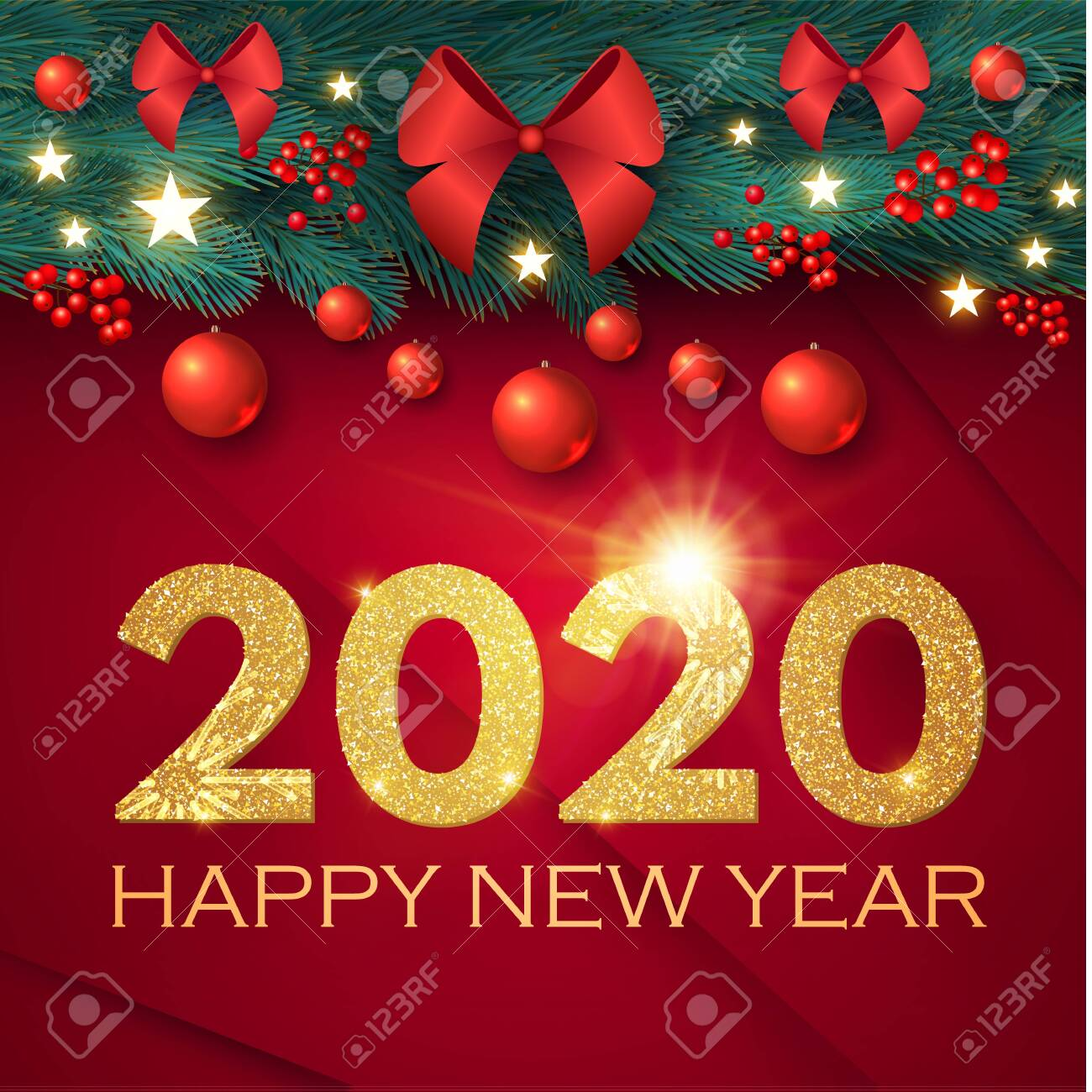 New Christmas Music 2020 Happy New 2020 Year Realistic Christmas Composition With Fir