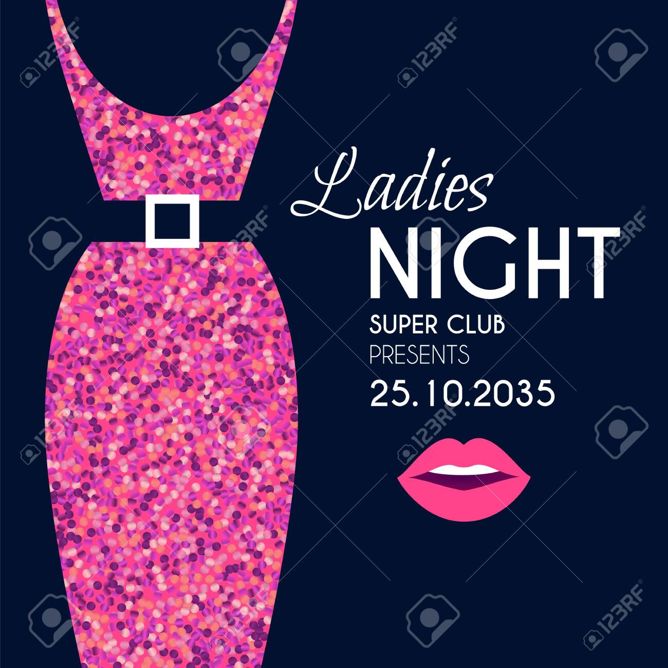 Ladies night glamour party flyer template withelegant dress silhouette and lips. - 147427943