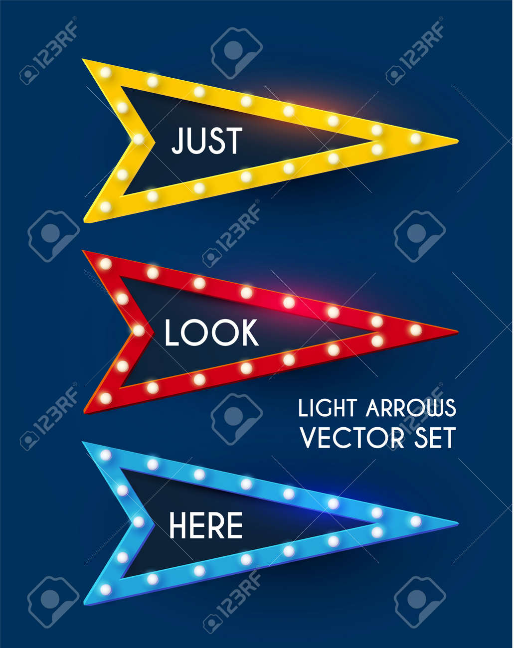 Shining retro light sing set. Vintage banner with light bulbs. Cinema, theatre, ad, show and casino design. - 154367837