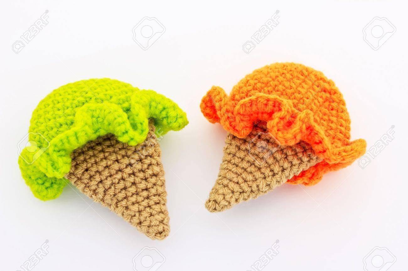 Nette Eiscreme Häkelanleitungen In Orange Und Grüne Farbe ...