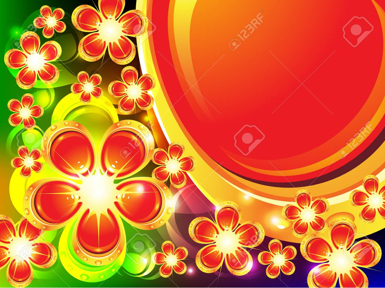 Background with lots of flowers and place for text Stock Vector - 13748395