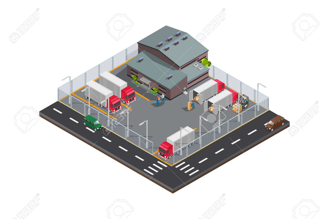 Modern Isometric Vector isometric oil field icon - 166926096