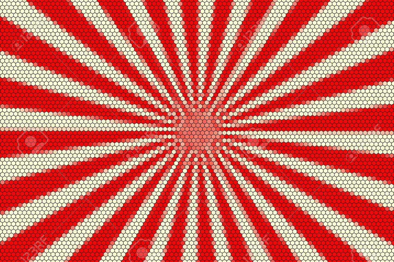Stock photo white and red rays from the middle with hexagonal pattern