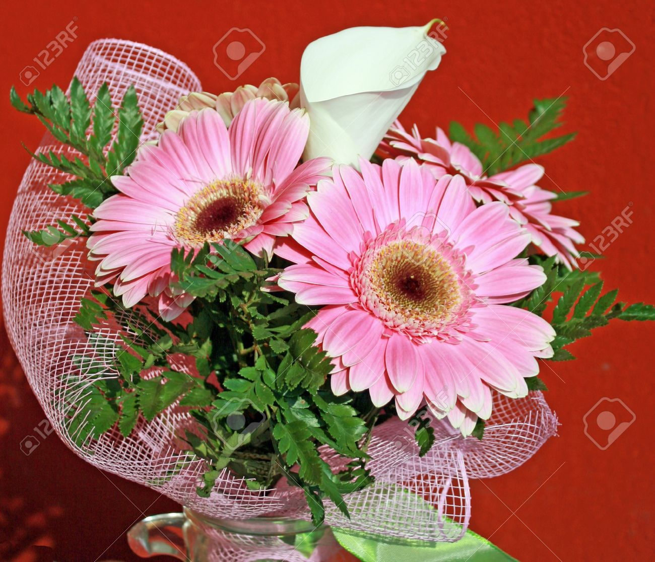 Bouquet of flowers for an anniversary with pink gerberas and stock bouquet of flowers for an anniversary with pink gerberas and a calla stock photo 10767116 izmirmasajfo