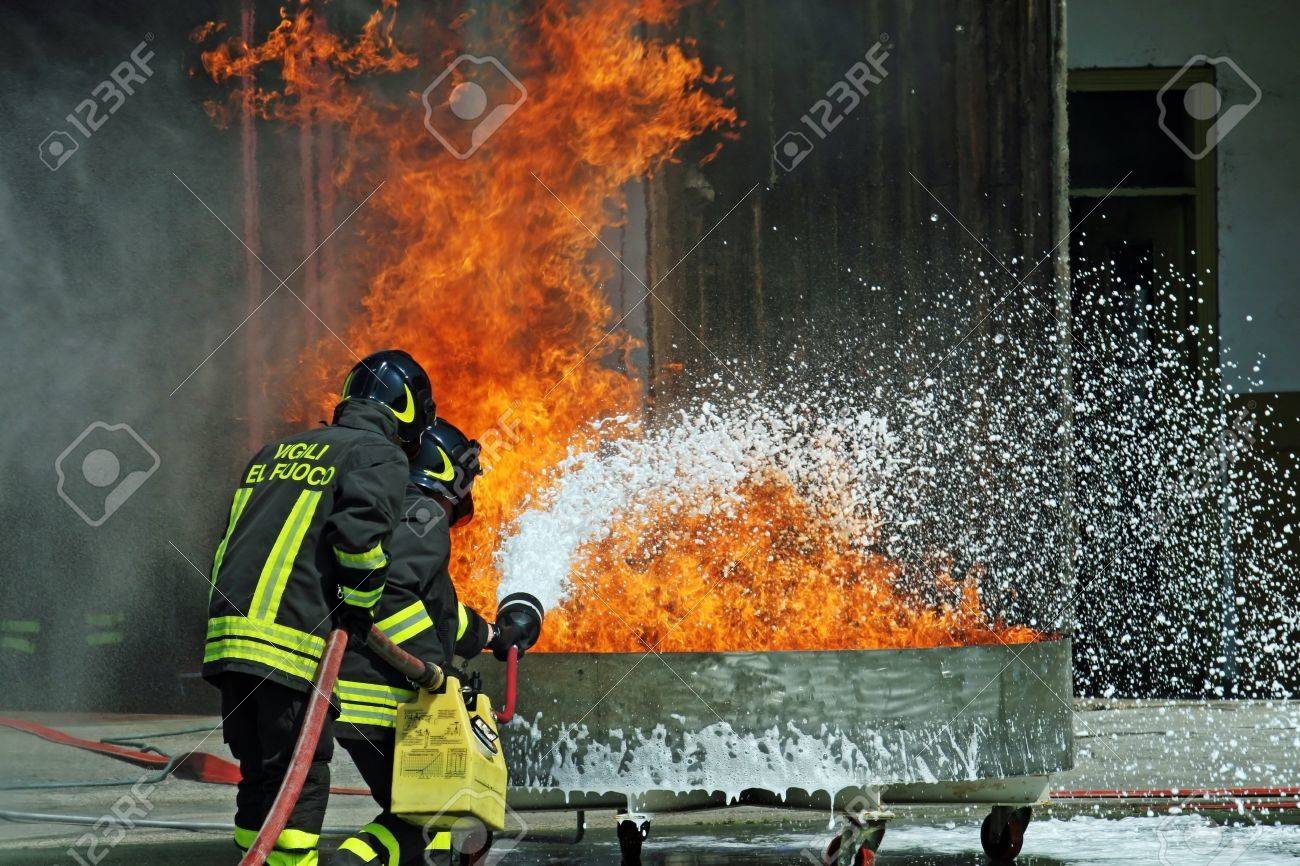 firefighters in action during an exercise Stock Photo - 12315787