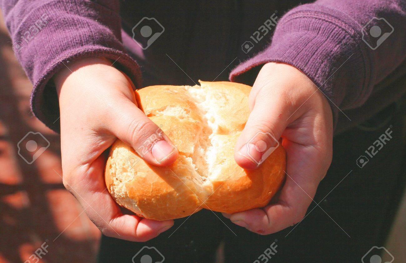 child who breaks a piece of bread with your hands Stock Photo - 12647529