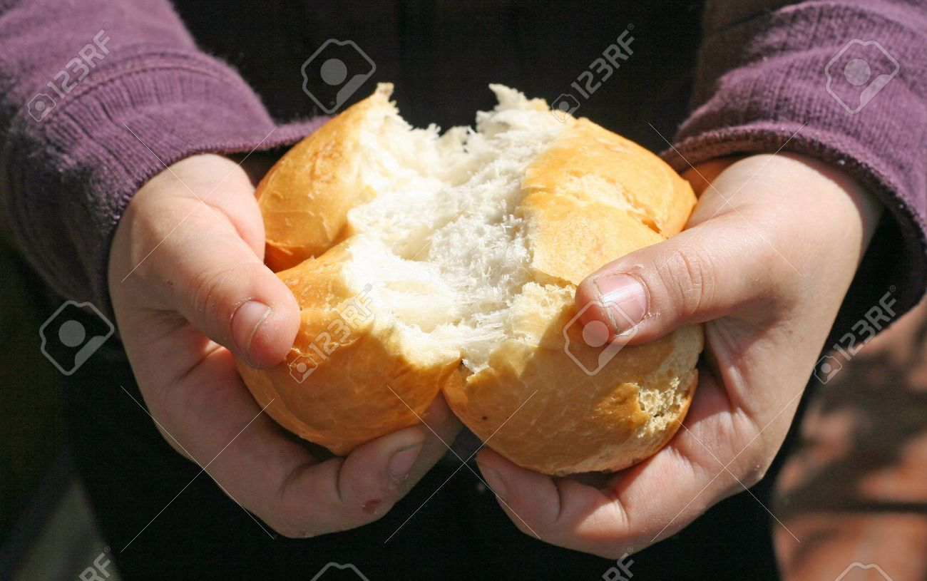 child who breaks a piece of bread with your hands Stock Photo - 12647534