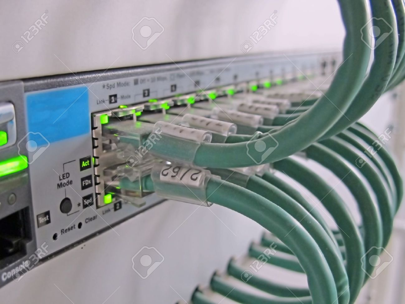 telecommunication cables for computer certificates on the ethernet jacks Stock Photo - 12618160