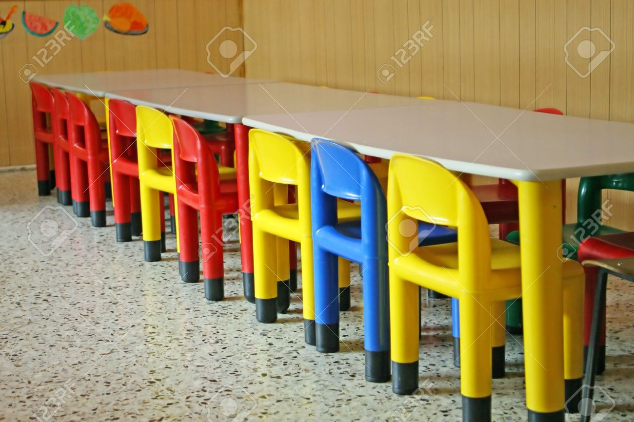 row of empty chairs in a dining room of a kindergarten Stock Photo - 13149743