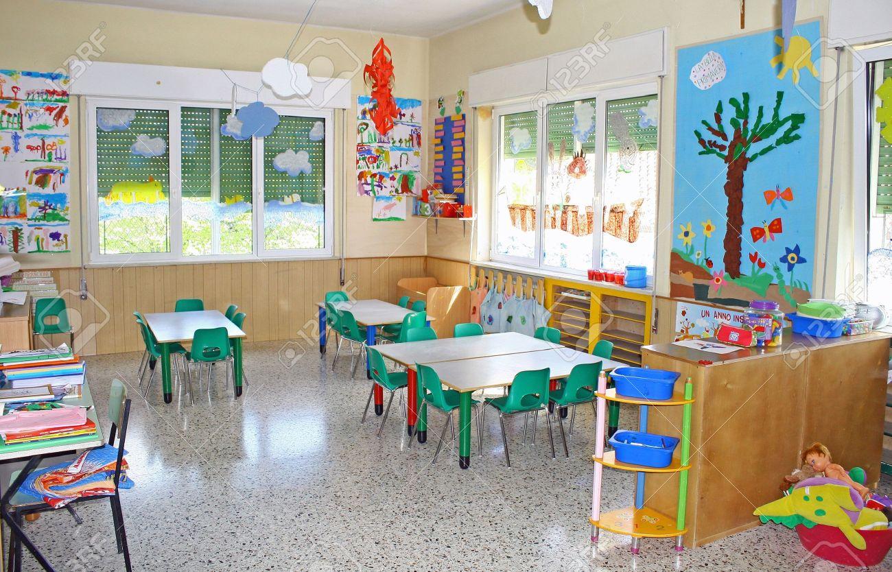Interior Of A Playroom Nursery Kindergarten School In Italy Stock Photo