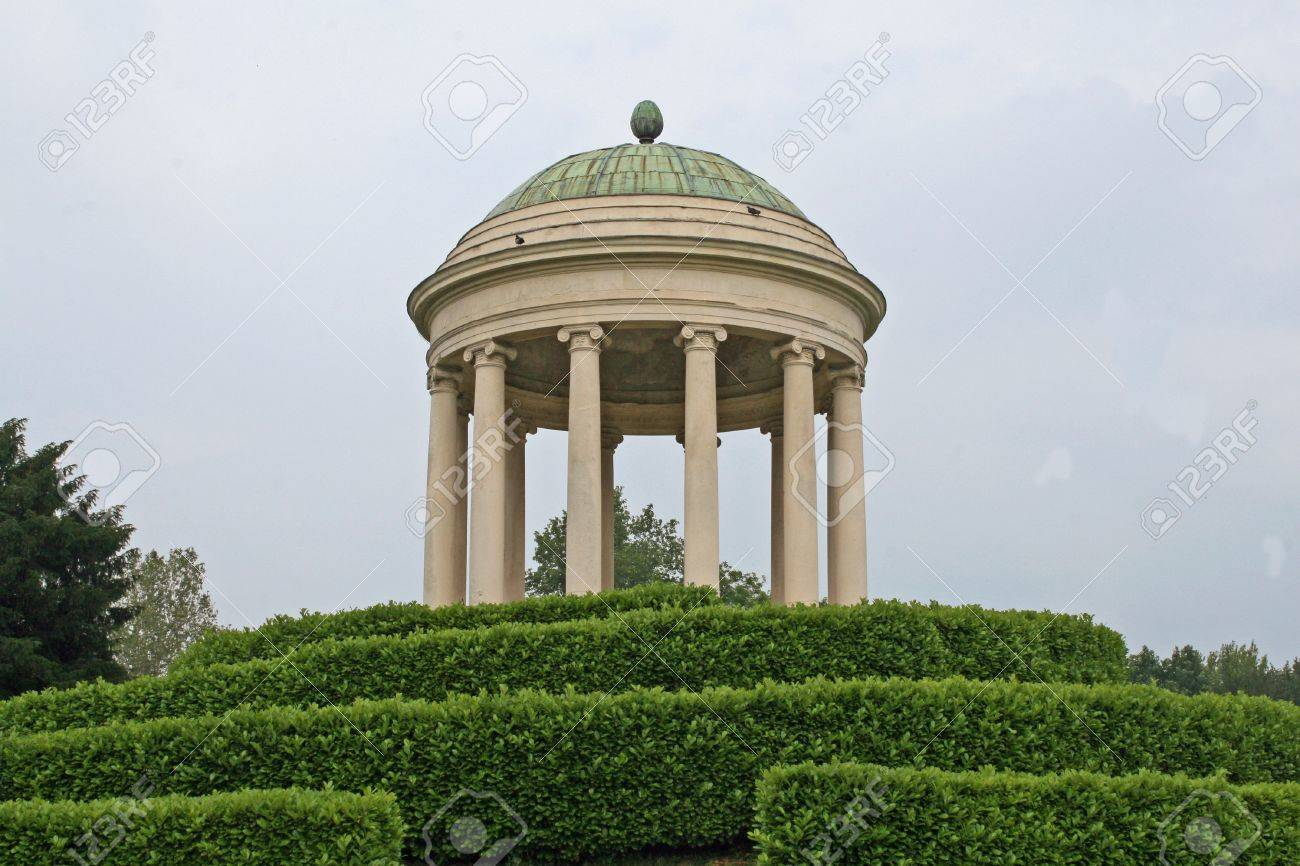 Ancient Dome Above The Hill Of A Public Garden In Italy Stock
