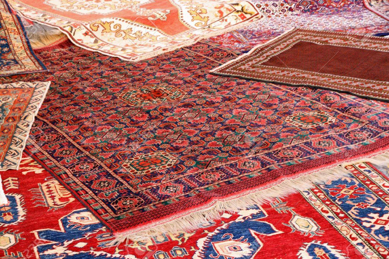 beautiful collection of valuable and colorful carpets of Afghan origin Stock Photo - 15500129
