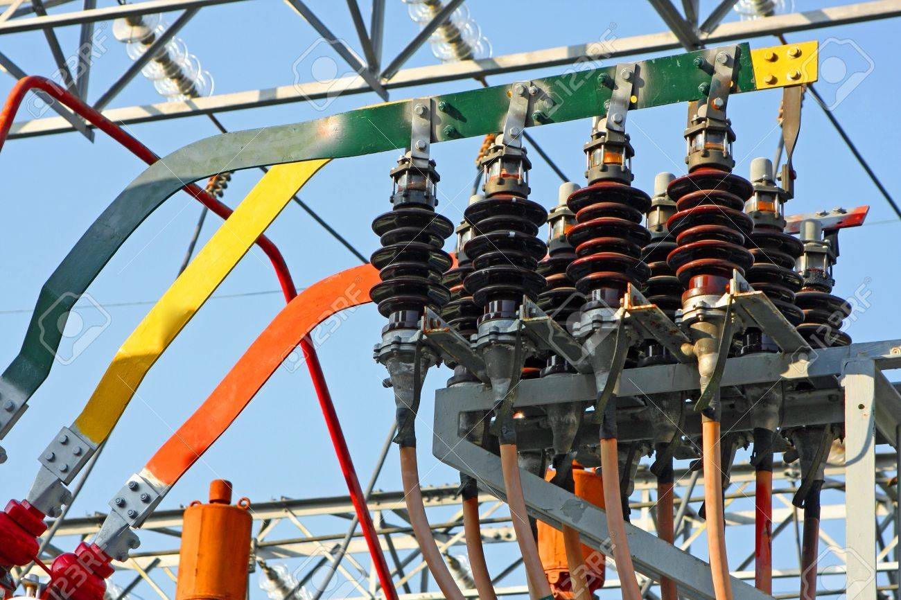 switches and insulators of a transformer in power plant electricity production Stock Photo - 16293551
