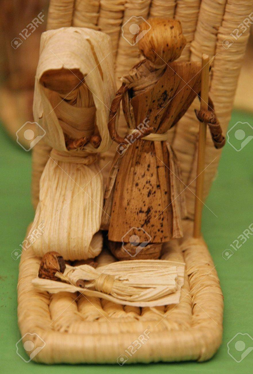Nativity made of straw and corn on the COB for sale at Christmas Stock Photo - 16488911