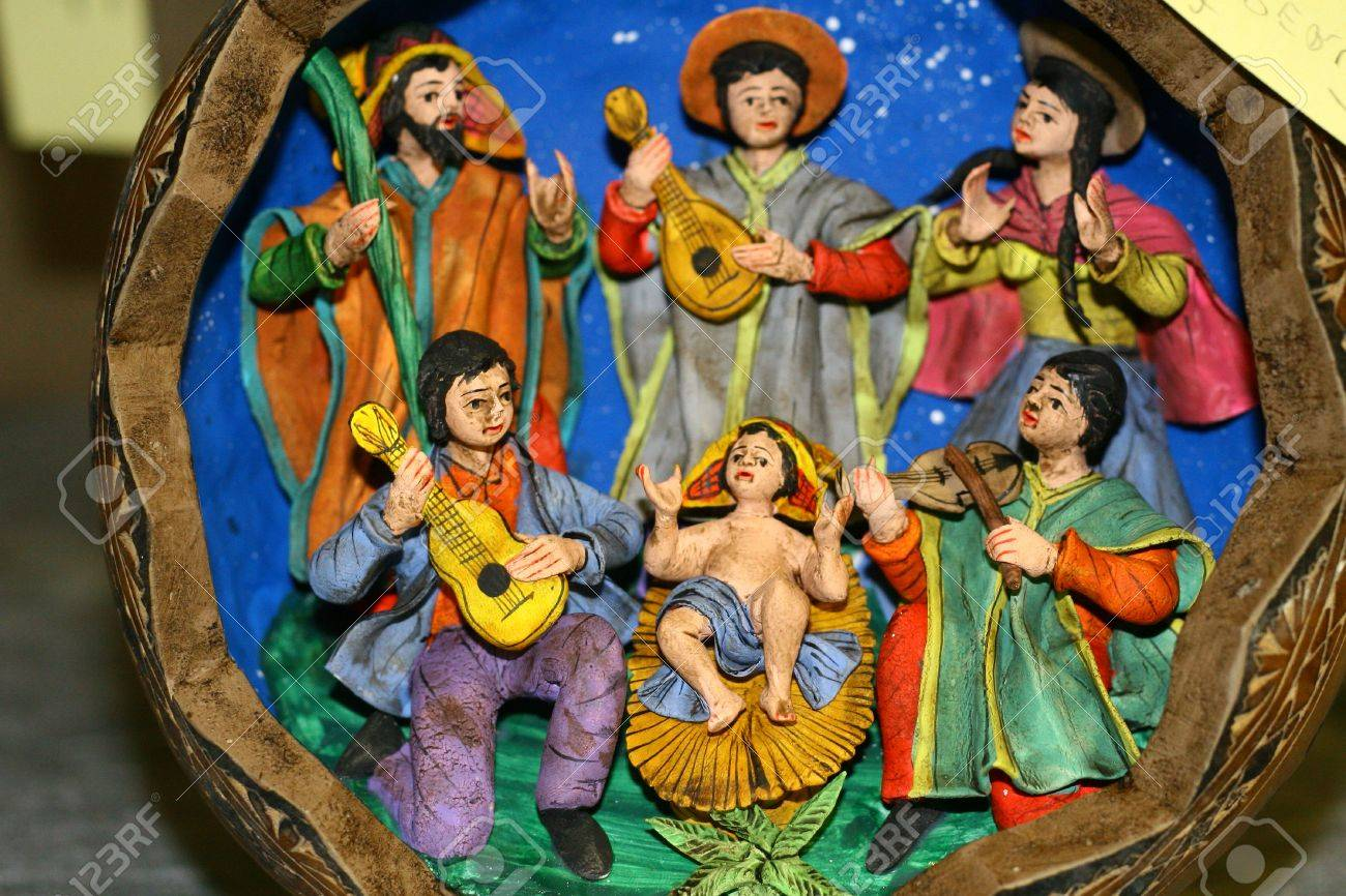 Italian Nativity scene with Holy Family and guitar players Stock Photo - 16510480