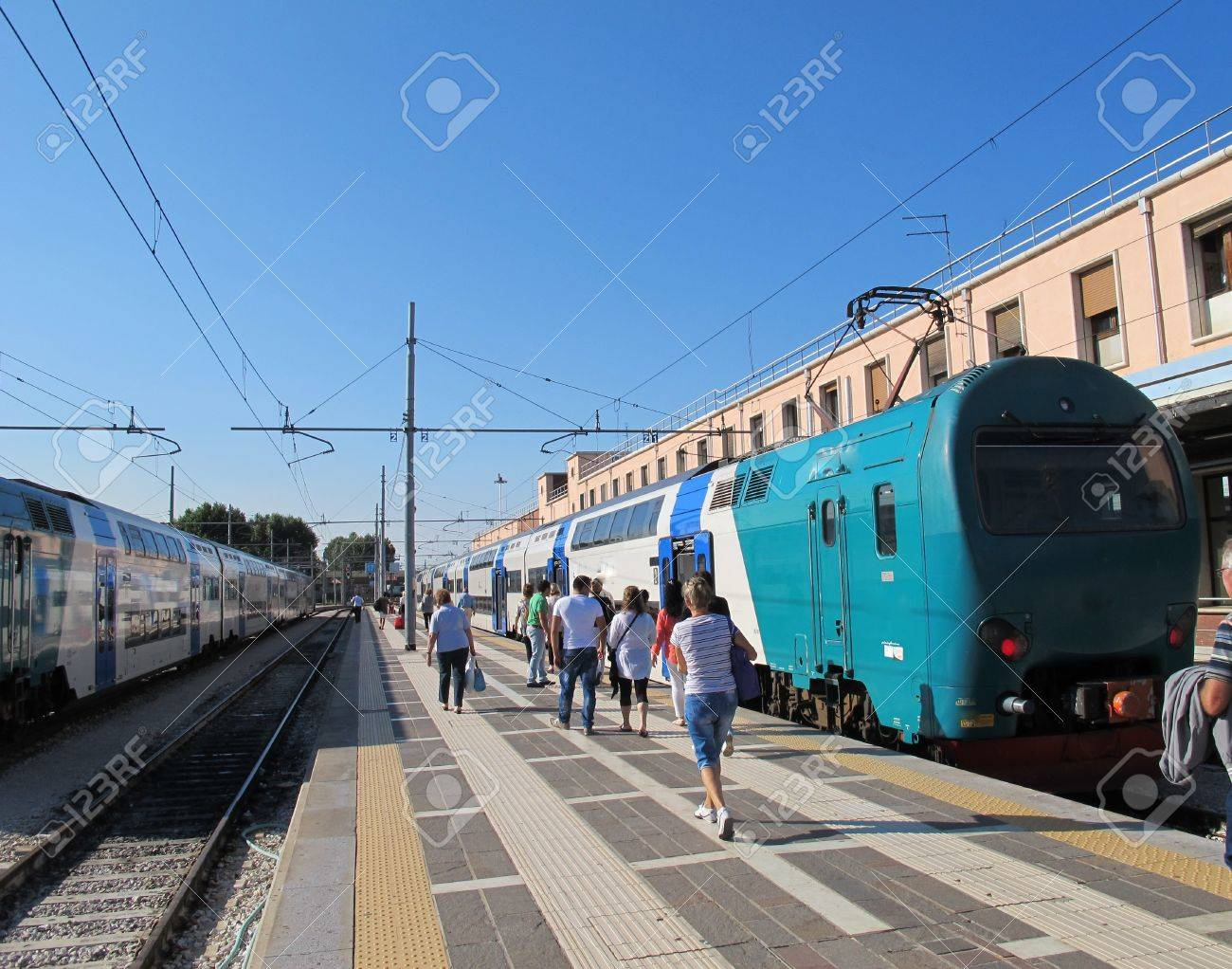 hurried tourists and travellers during the train stop at the station Stock Photo - 16713849