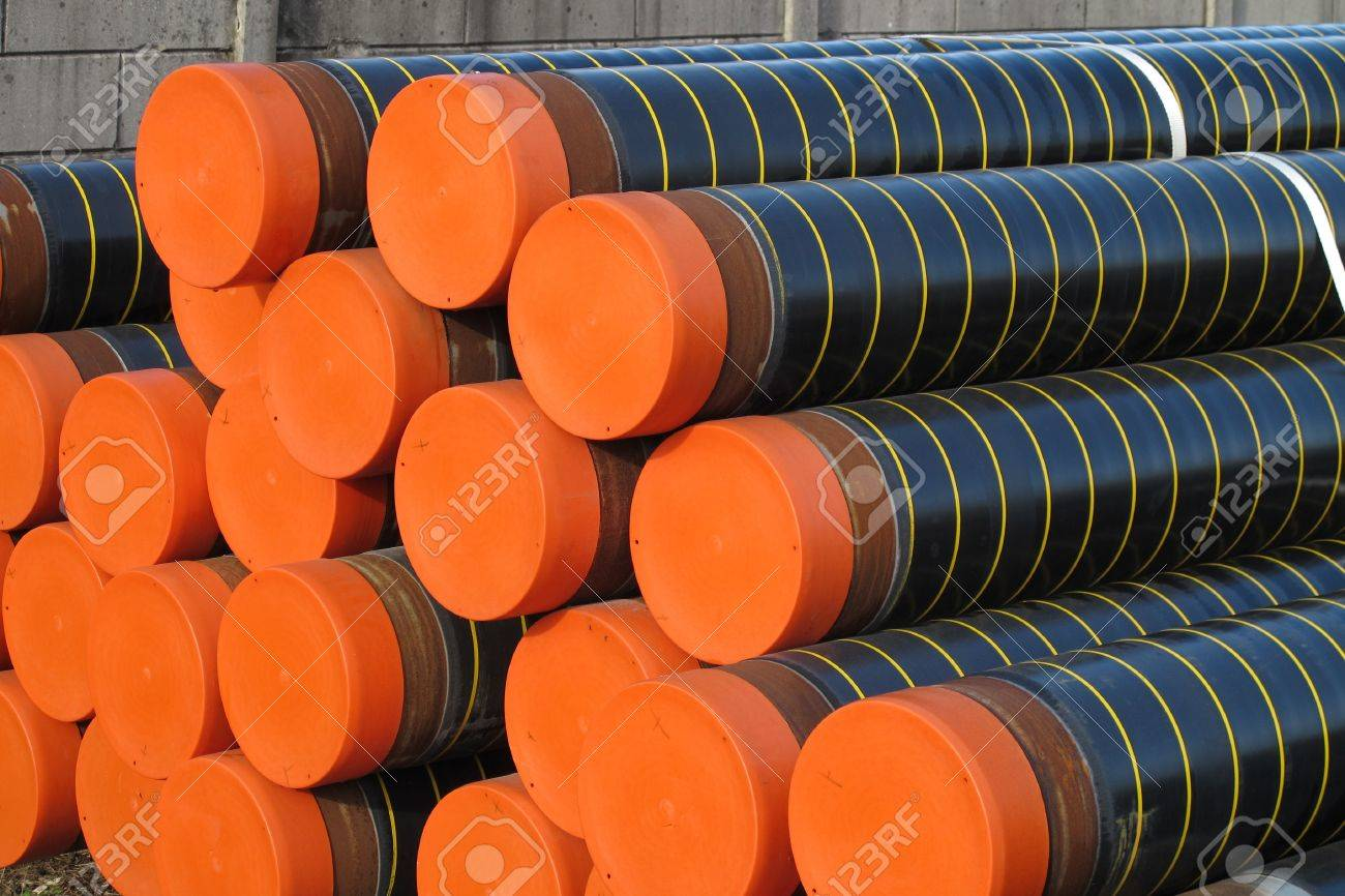 piles of plastic pipes and conduits for transporting water and gas Stock Photo - 17793023