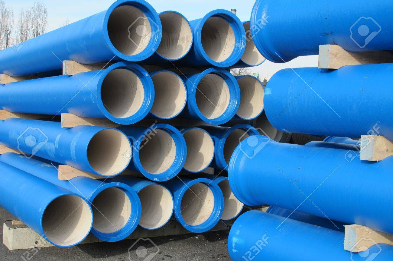 piles of concrete blue pipes for transporting water and sewerage Stock Photo - 17793027
