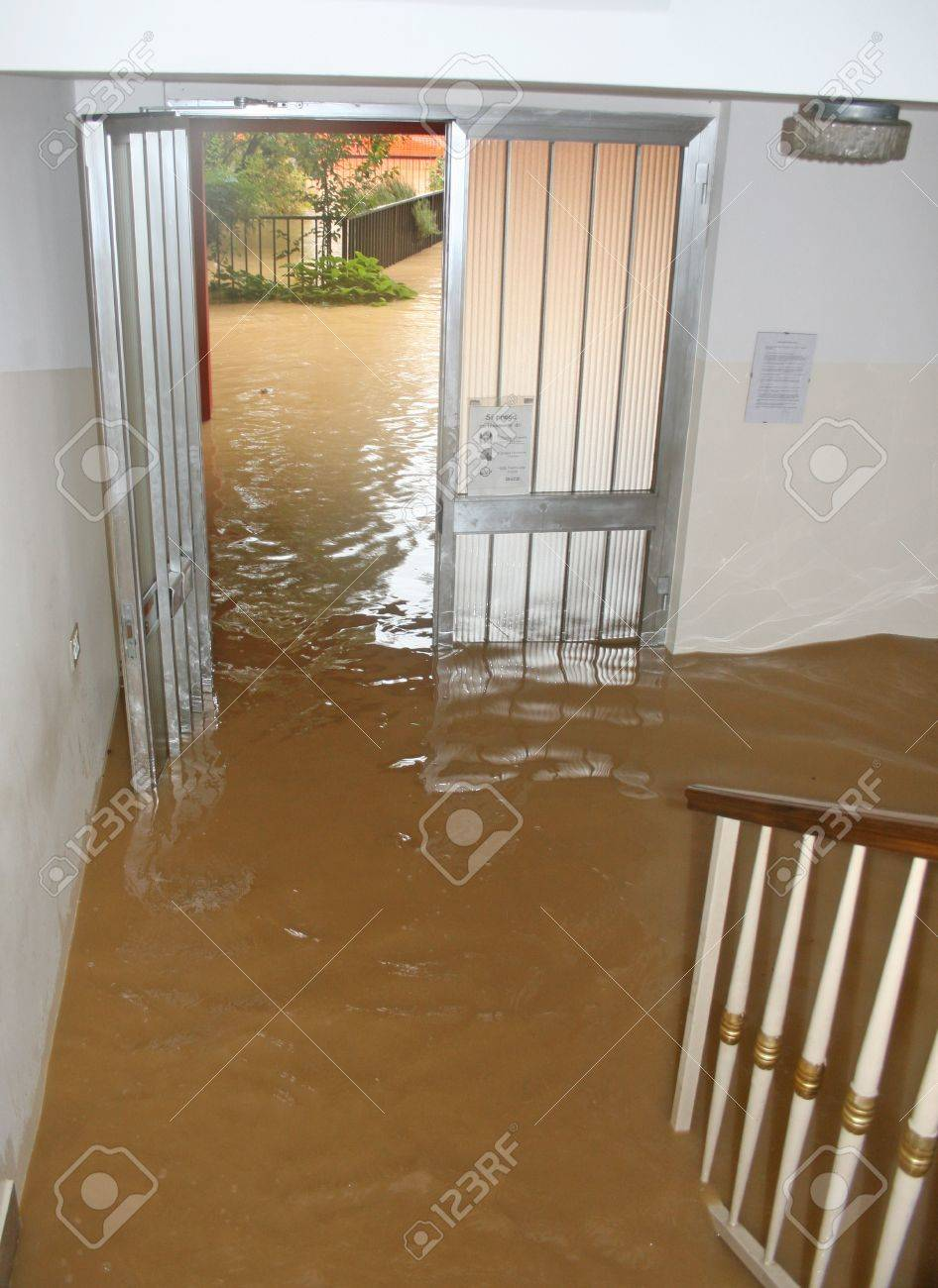 entrance and staircase of the House invaded by mud during a flooding of the River Stock Photo - 18113815
