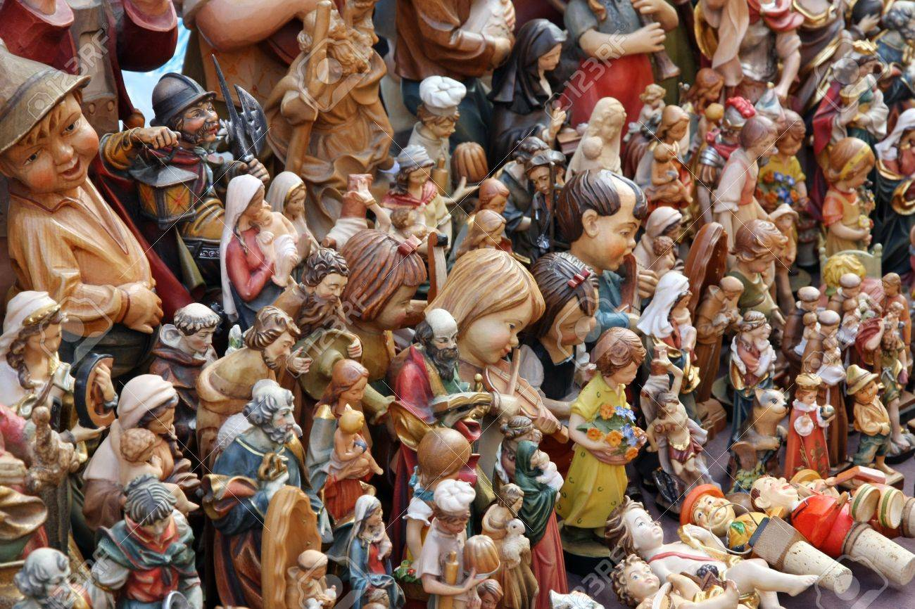 Vintage crib for sale - Stock Photo Many Statues Of All Kinds For The Crib For Sale Vintage Market
