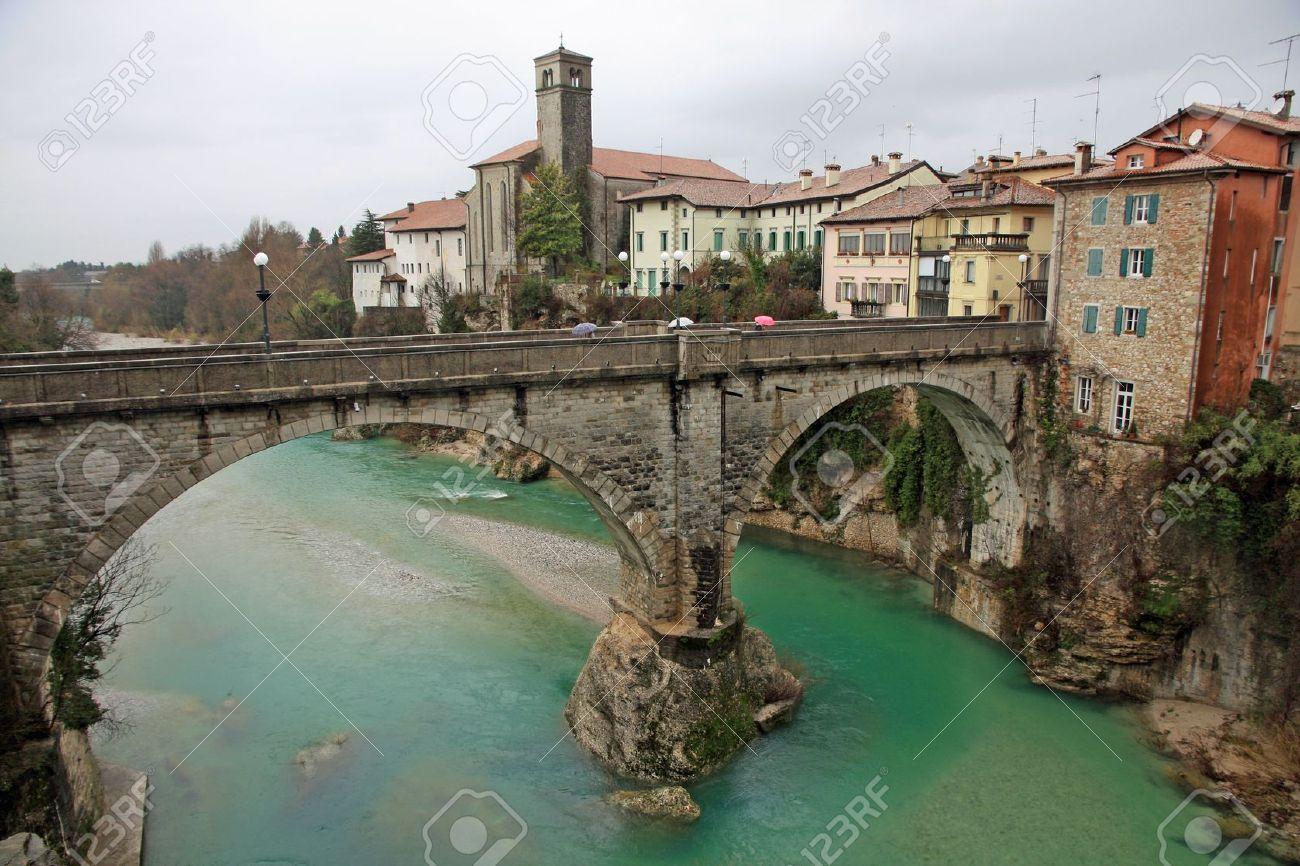 famous Devil's bridge on the NATISONE River that crosses the city of Cividale del friuli in Italy Stock Photo - 18930250